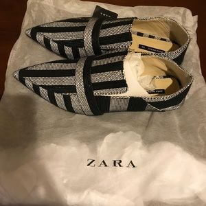 Zara Multicolor Stripe Mule Loafers Flats